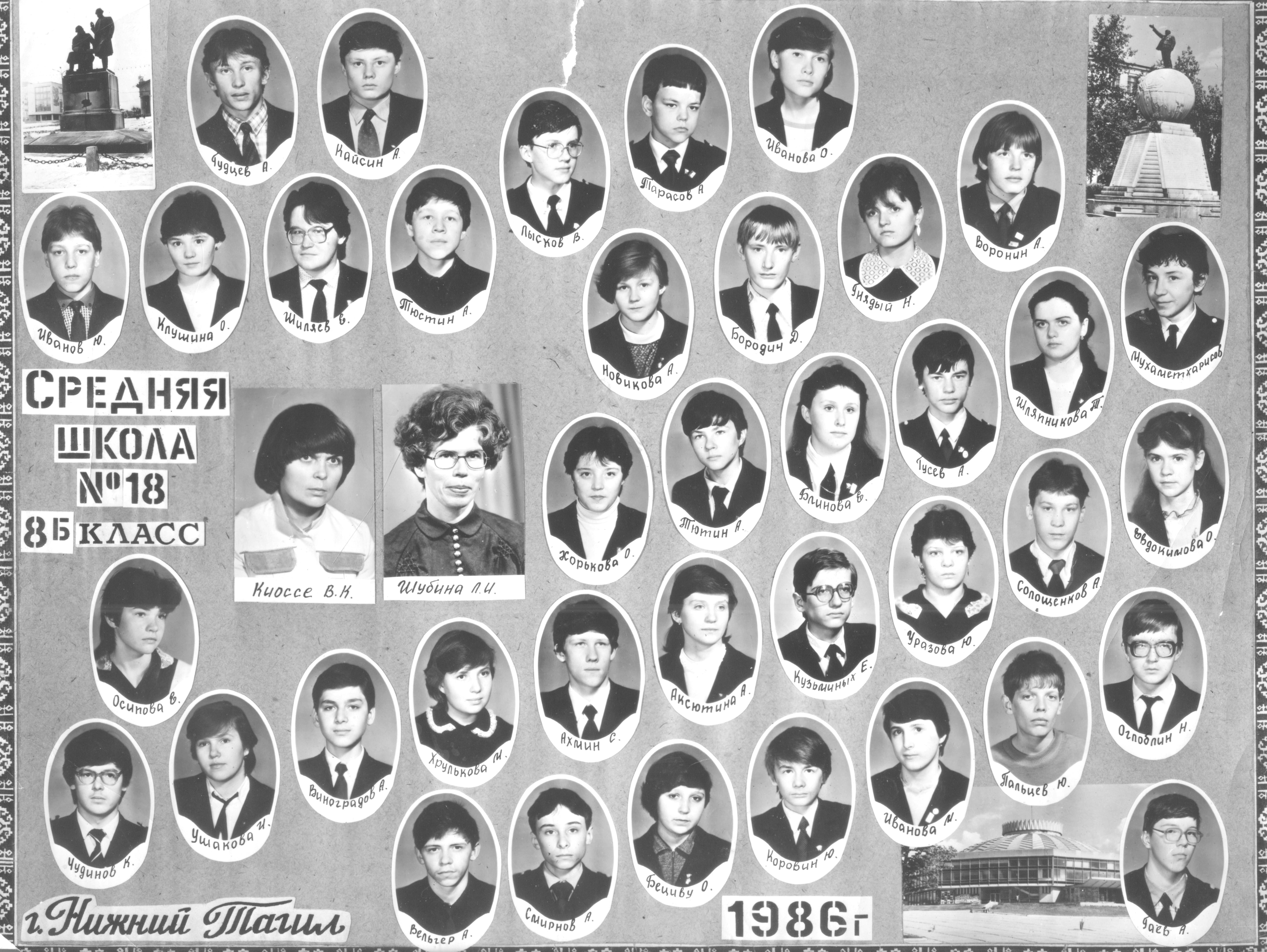 Выпускники 8б класса 1986 год